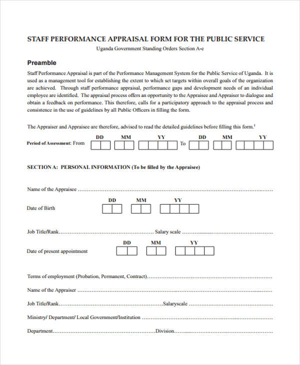 sample employee staff appraisal form