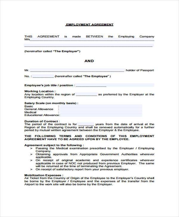 Job Agreement Contract Employment Contract Date Name Dear