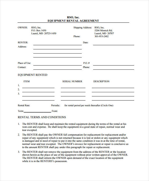sample equipment rental agreement form1