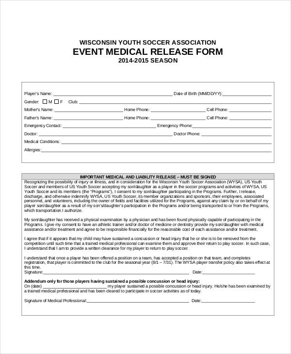 sample event medical release form