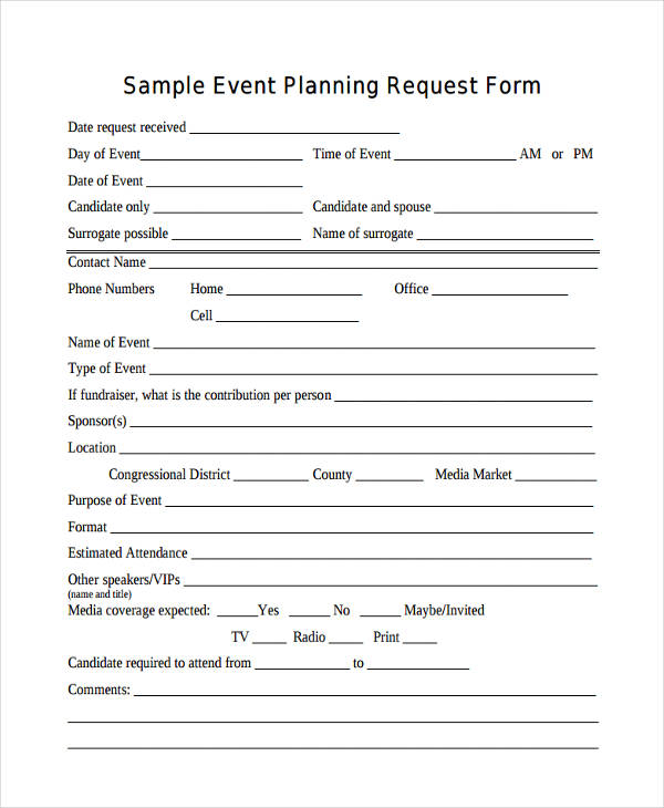 sample event planning request form