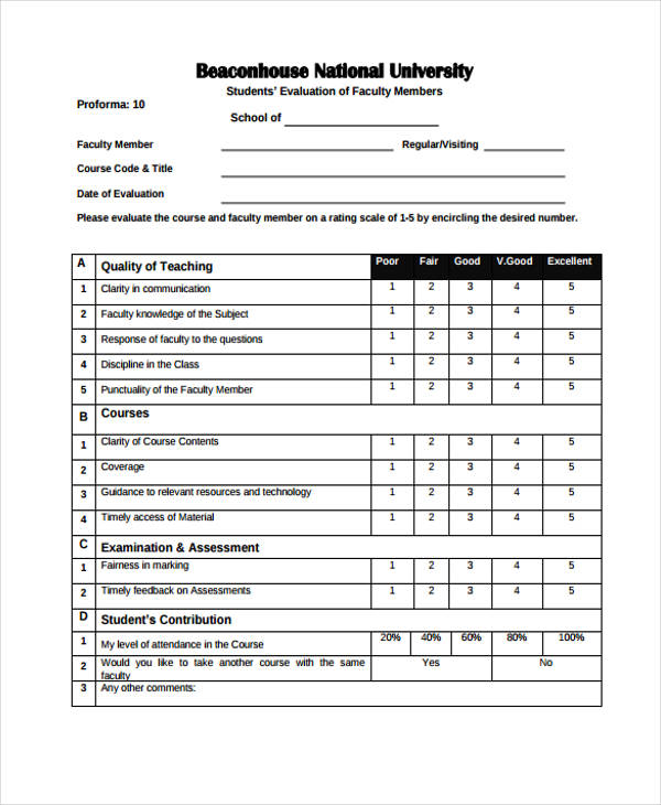 Sample Student Evaluation Form. 17 Sample Student Evaluation Forms