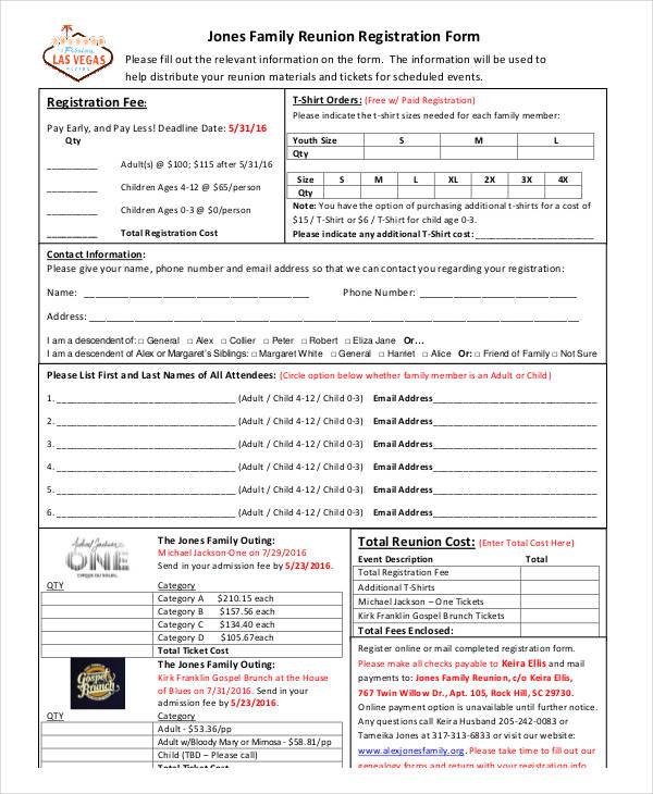Family reunion registration form template teacheng family maxwellsz