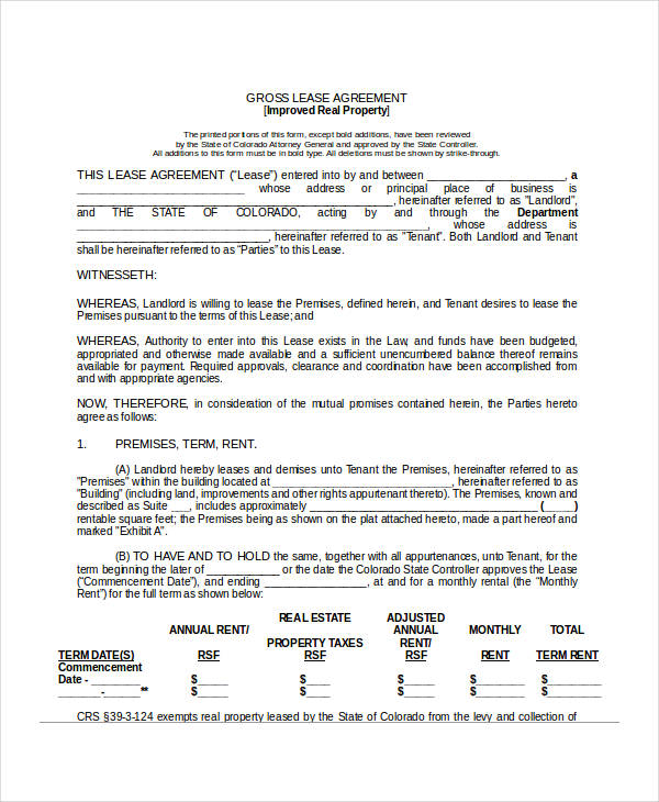 sample gross lease agreement form