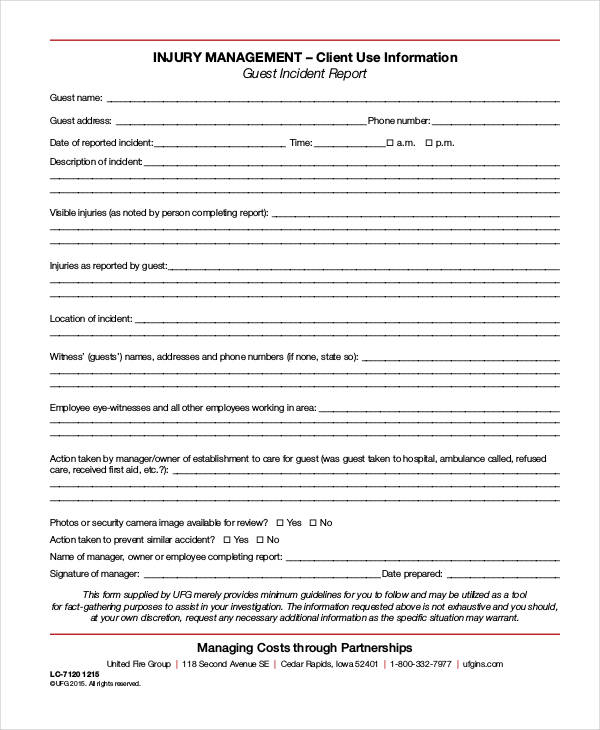 sample guest incident report form