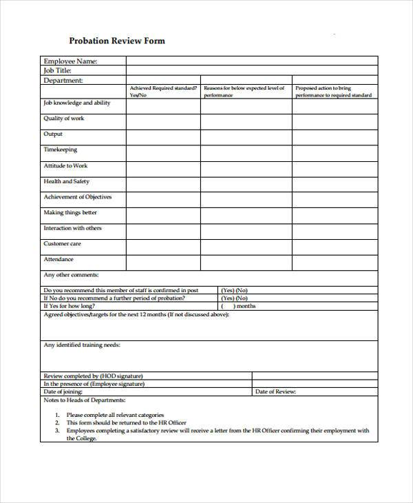 sample hr probation review form