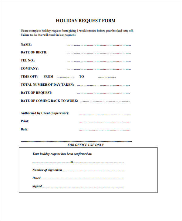 Sample Request Form – Holiday Request Form