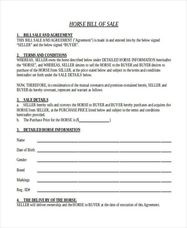 Sample Horse Bill Of Sale Form