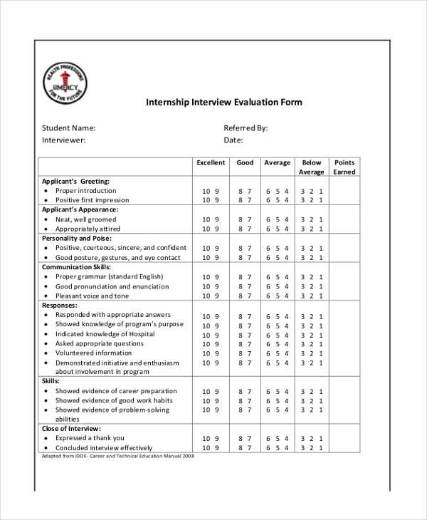 sample internship interview evaluation form