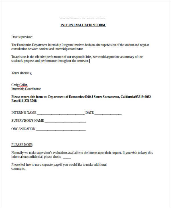 sample internship training evaluation form