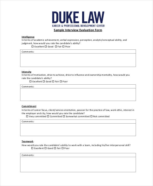 Free Interview Evaluation Form – Sample Interview Evaluation