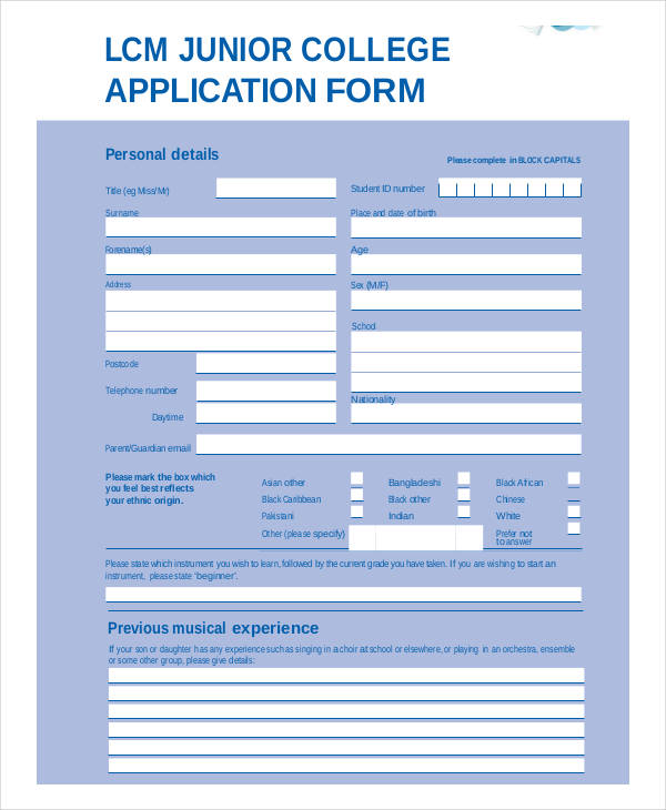 sample junior college application form
