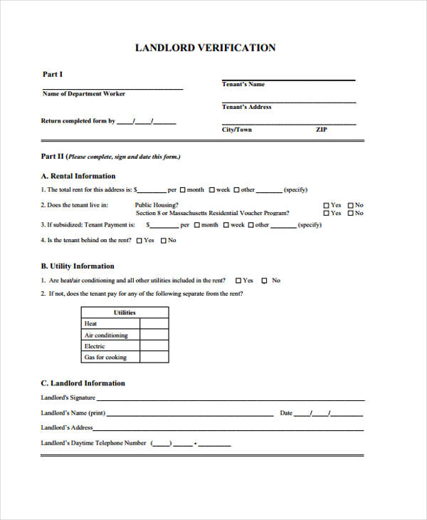 Sample Landlord Verification Form  Landlord Employment Verification Form