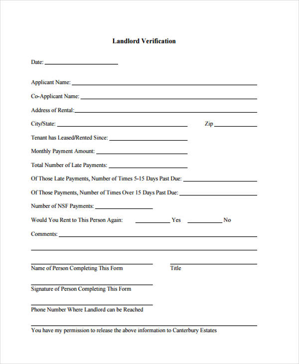 Sample Landlord Verification  Landlord Verification Form