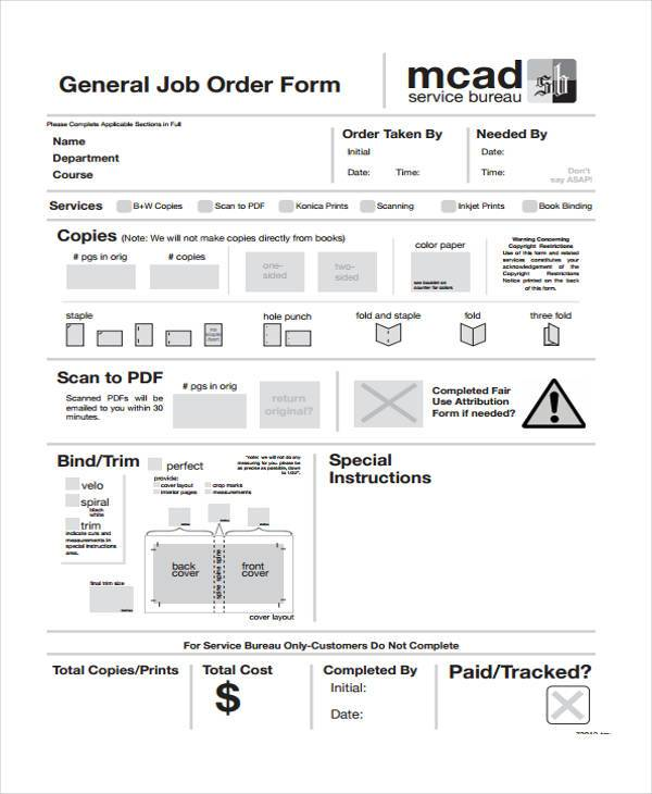 sample laundry job order form
