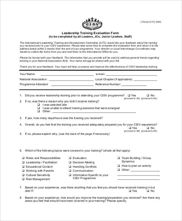 sample leadership training evaluation form