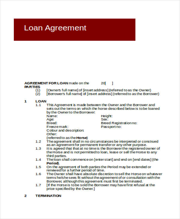 sample loan agreement contract