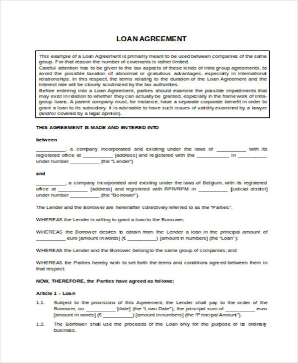 Sample Loan Agreement Doc  Loan Agreement Templates