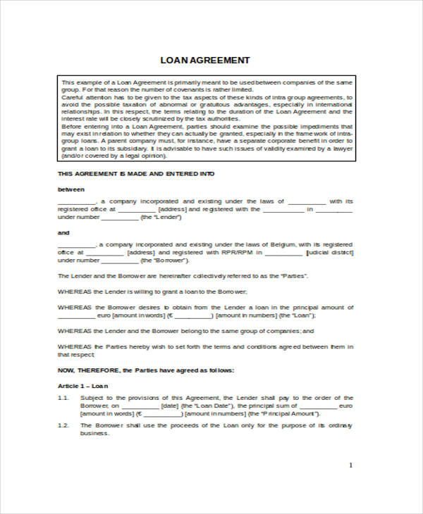 Free Loan Agreement Form – Unsecured Loan Agreement Sample