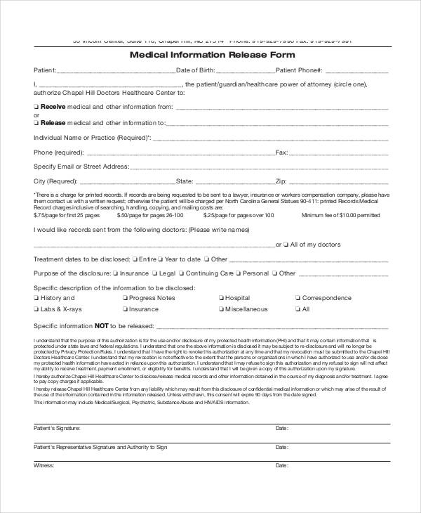 sample medical information release form2