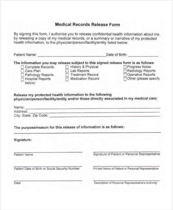 sample medical records release form2