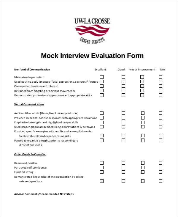 Free Interview Evaluation Form