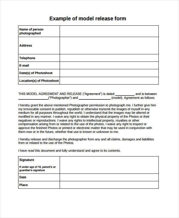 sample model photography release form template