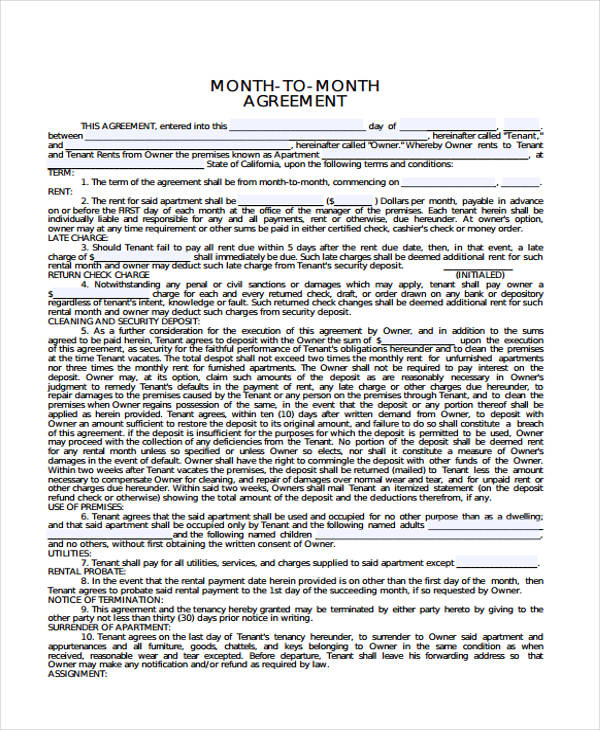 sample monthly rental agreement form