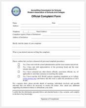 sample official complaint form