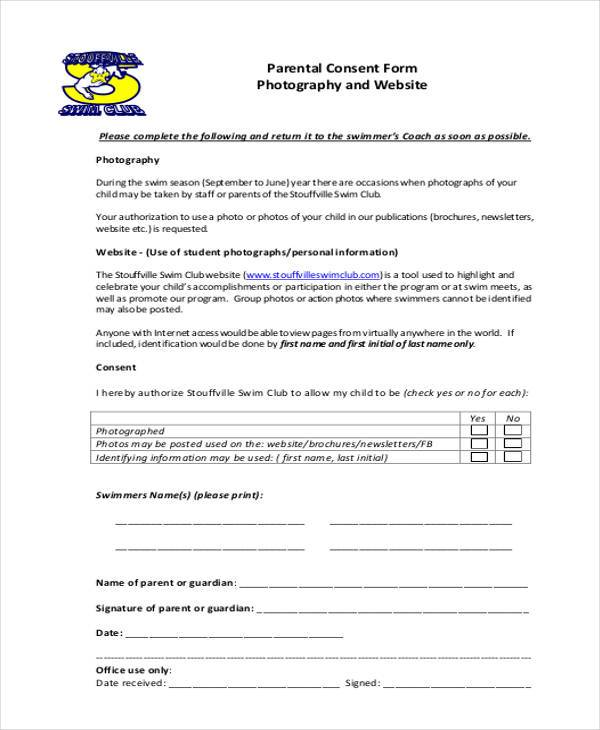 sample parental consent form photography