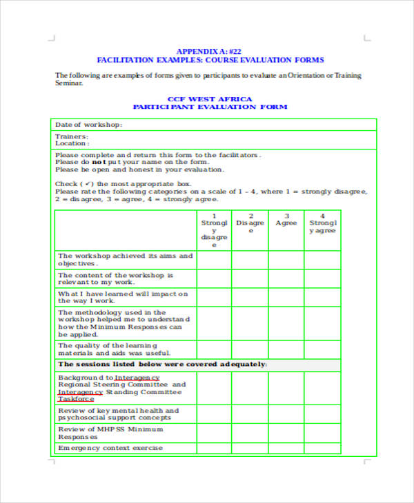 sample participant training evaluation form