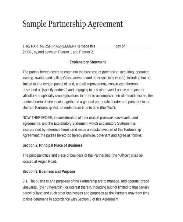sample partnership agreement form