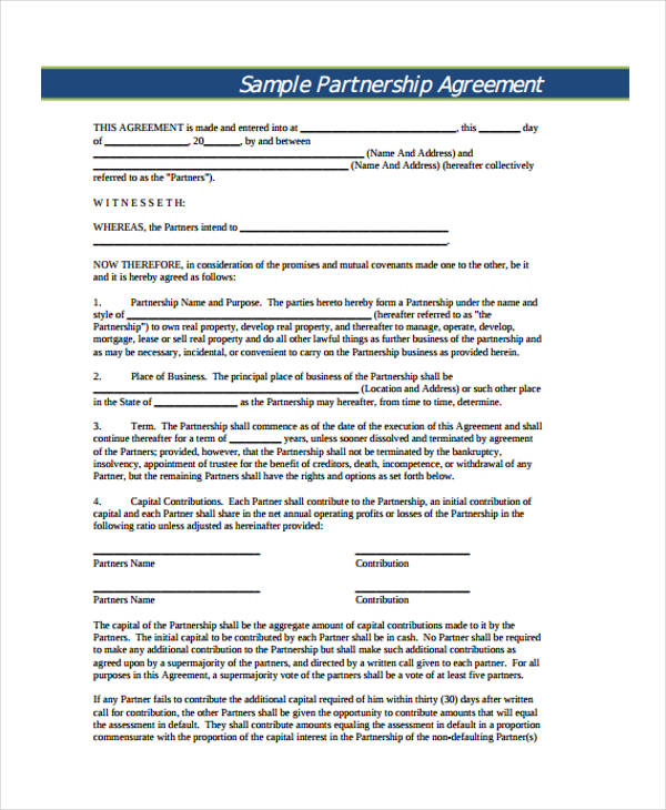 Partnership Contract Templates Partnership Contract Template