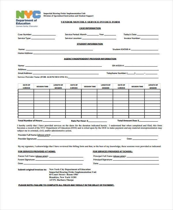sample payment invoice form