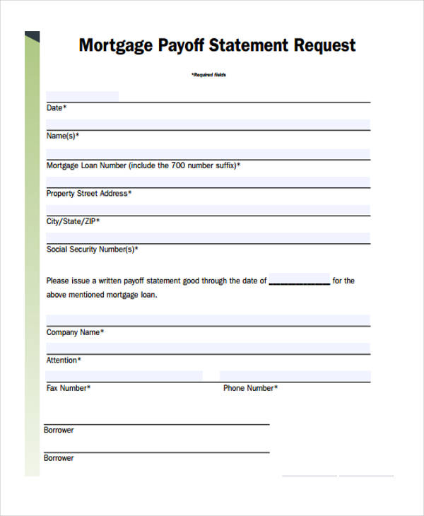 sample payoff statement form