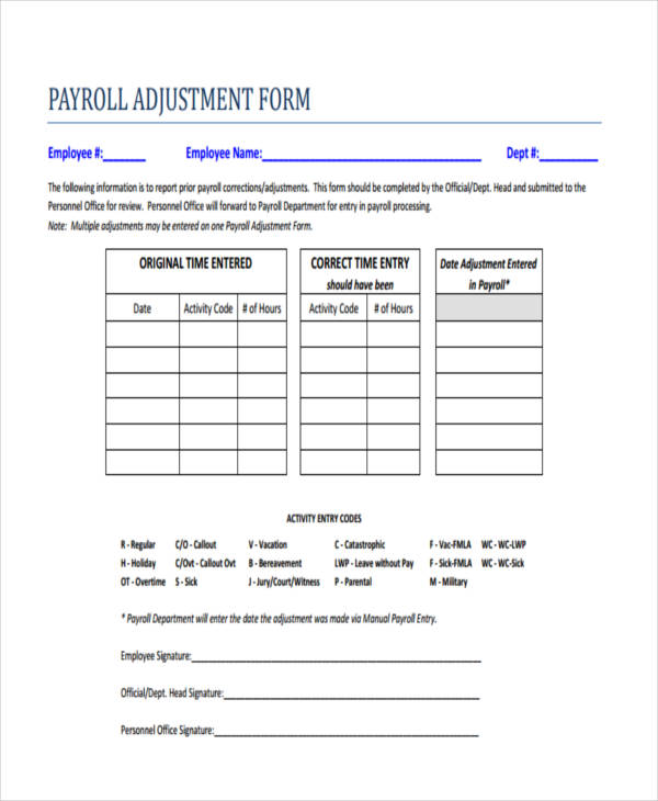 payroll correction form template