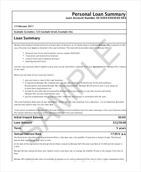 Free Loan Agreement Form – Free Personal Loan Agreement Form
