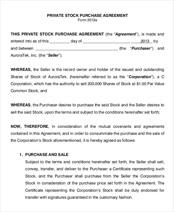 11 Purchase Agreement Form Samples Free Sample Example – Stock Purchase Agreement Template
