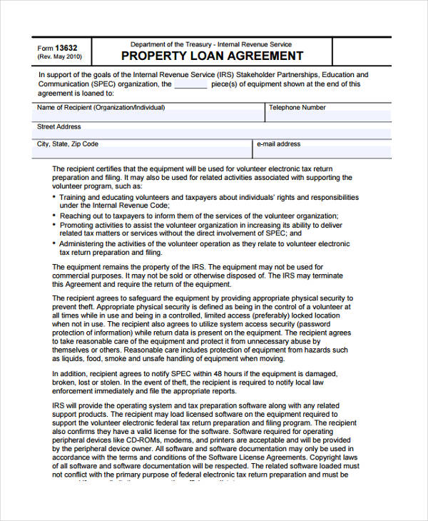 sample property loan agreement form