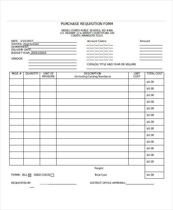 Sample Requisition Form Sample Purchase Requisition Form
