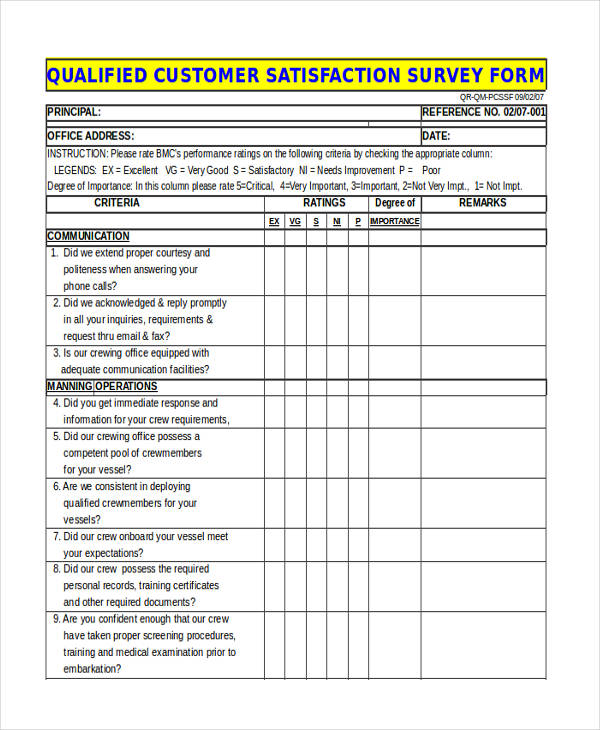 Survey Forms In Excel