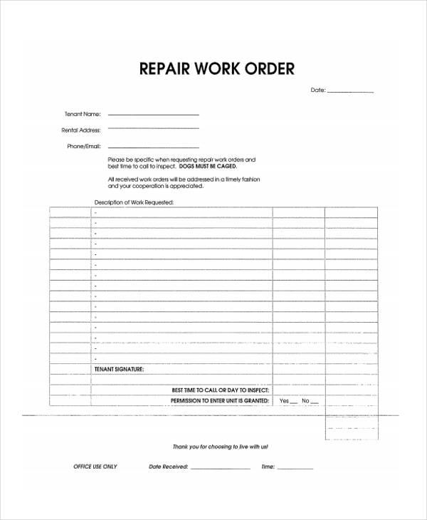 sample repair work order form