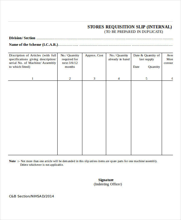 sample requisition slip form