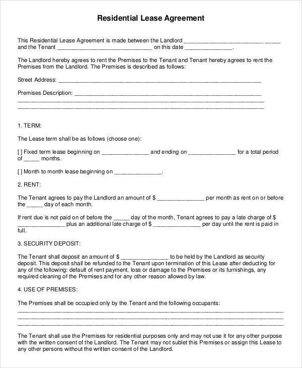 Generic Lease Agreement  Rental Agreement Form Sample Example