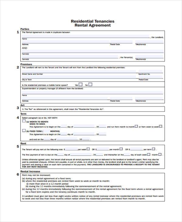 sample residential rental agreement form1