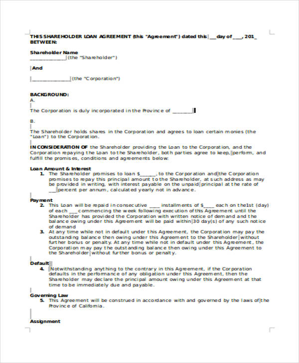 sample shareholder loan agreement1