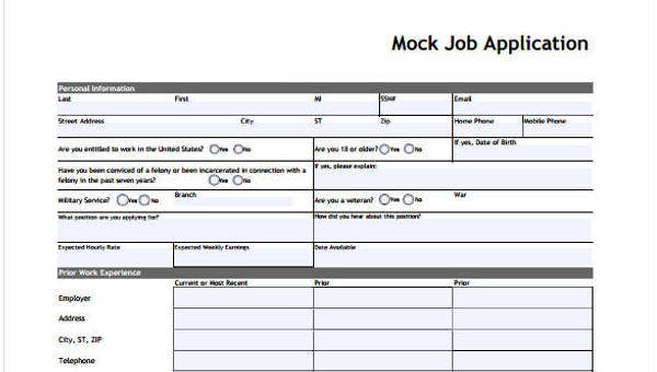 9 sample standard job application form free sample example