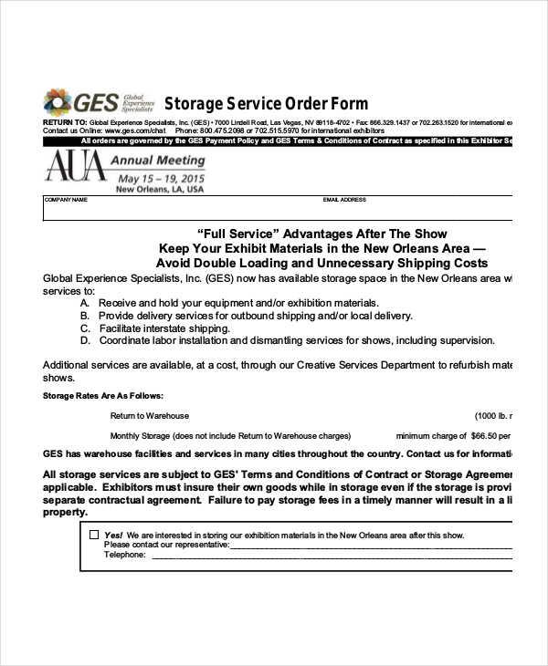 sample storage service order form
