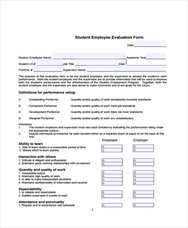 sample student employee evaluation form