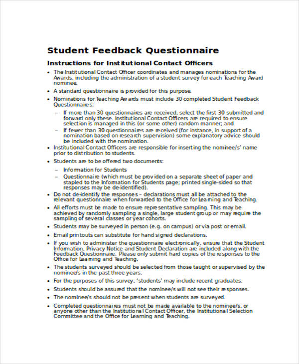 sample student feedback questionnaire